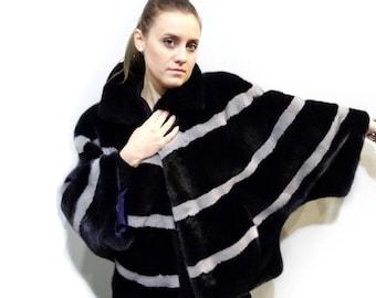 Plus size mink fur black cape with sapphire stripes F402