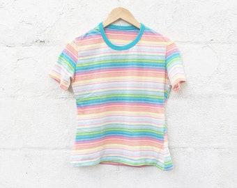70s Rainbow Striped Top