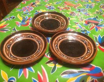 Vintage set of 3 of  terra cotta red clay hand crafted and painted geometric design Mexican dishes