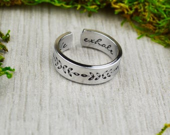 Inhale Exhale Ring with Ferns - Yoga Jewelry - Floral Jewelry - Daily Inspiration - Yoga Jewelry