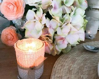 Wedding Candle Holder // Tea Light or Votive // Shabby Chic // Wedding Decor