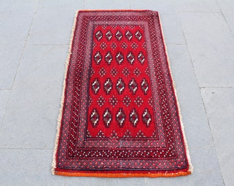 Turkoman wool rug, vintage Boukhara  Rug, Geometric small red  Rug,Vintage Turkoman Boukhara area  Rug,oriental floor rug 102x52cm,3.3x1.7ft