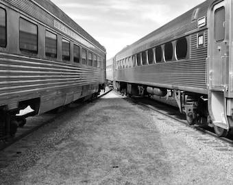 Dual Silver Trains B&W Fine Art Print