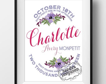 8x10 11x14 Personalized Birth Announcement Printable Wall Art - Girl or Boy - DIGITAL FILE