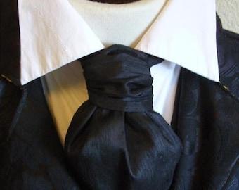 FORMAL Victorian Ascot Tie Cravat - Midnight Black Dupioni SILK