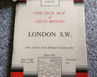 Vintage Ordnance Survey Map No.170.  London S.W.   1959