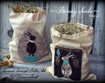 Pattern: Punch Needle Bunny Sacks by Doreen Frost for Vermont Harvest Folk Art