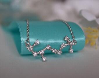 Scorpio Constellation Sterling Silver/Stainless Steel Necklace, Constellation Necklace, Silver Necklace, Zodiac Necklace, Zodiac Jewelry