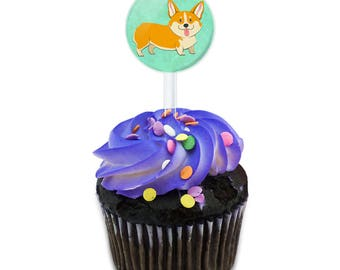 Quirky Corgi Cake Cupcake Toppers Picks Set