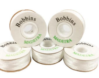 MADEIRA Pre Wound 'L' Style White Polyester Embroidery Machine Bobbins, Threads, embroidery underthreads,  prewound bobbin