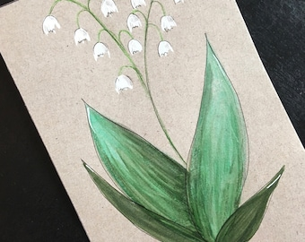 Postcard / greeting card / Upcycled / handmade / Lily