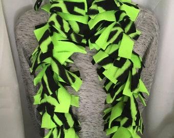 Neon Green Zebra Colored Fringe Scarf