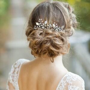 Wedding hair accessories etsy bridal hair pins wedding hair pins set of two silver bridal leaf hair pins silver leaf junglespirit Choice Image