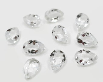 Genuine White Topaz 6x9x3.5-4mm Pear cut 1.55-1.75ct each