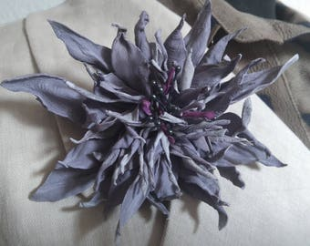 Smokey violet leather flower brooch