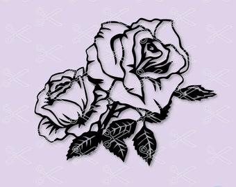 Flower SVG, PNG, DXF, Eps Cut File, Rose Svg, Rose silhouette, Rose clipart, Flowers Svg, Rose Vector, Digital Download