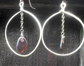 brass earrings-boho earrings-seaglass earrings-wire wrapped  earrings-artisan earrings-hoop earrings-wire wrapped seaglass-hammered brass