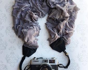 Ruffled Scarf Camera Strap, DSLR Camera Strap, Extra Long, Nikon, Canon, DSLR Photography,  Gift Photographer Gift - Ruffled Gray