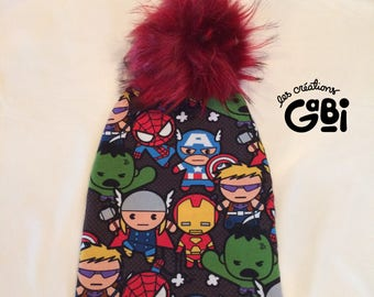 Hat, Pompom, baby, child, unisex, super hero