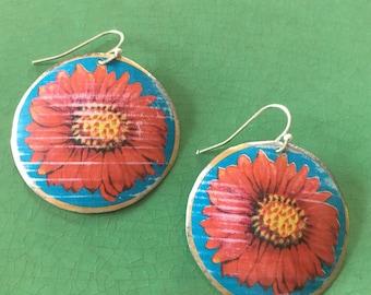 Floral earrings - spring earrings - upcycled tin earrings - flowers - lightweight earrings