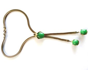 Mid Century Modernist Green Lucite Slide Necklace