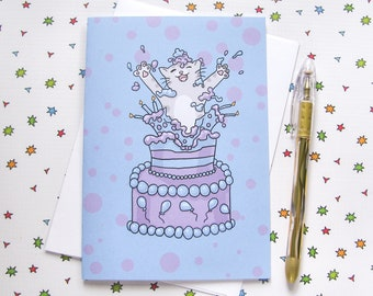 Birthday Cake Cute Cat Any Occasion Card Birthday Card Cute Greeting Card Kitty Present Gift Funny Humor Blue