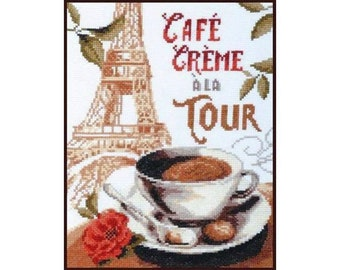 NEW UNOPENED Russian Counted Cross Stitch KIT Palette 04.003 Coffee with cream Paris