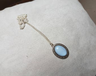 light blue oval necklace