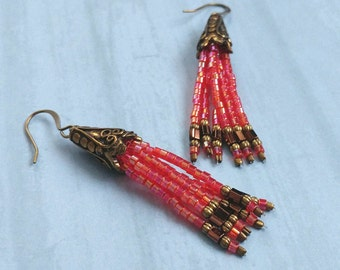 Fushia Dark Pink Beaded Tassel Earrings With Antiqued Gold Plated Brass, Bronze Accents