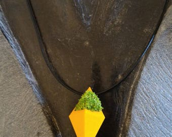 "Real Lichen stabilized yellow ""diamond"" necklace"