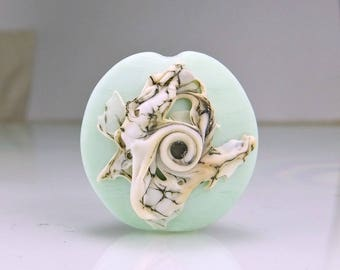 Etched Pale Mint Green Lampwork  Focal Bead
