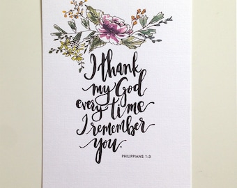 Philippians 1:3 Hand Lettered and Watercolor Art Print