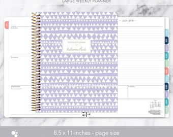 8.5x11 weekly planner 2018 2019   choose your start month   12 month calendar   LARGE WEEKLY PLANNER   lavender tribal