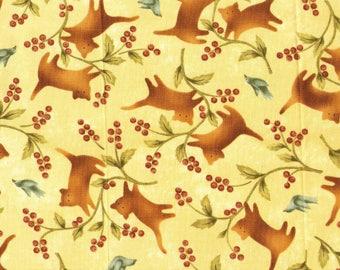 Tissu coton patchwork Folk Art  Chats et baies sauvages