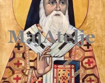 Saint Nectarios of Aegina, Greek orthodox icon, Handpainted, Art for digital download, Printable