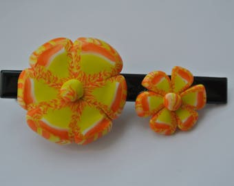 hair clip two polymer clay, orange yellow flowers
