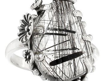 Solid Sterling Silver Rutilated Quartz. Black Rutile Ring. Size 7. 6479