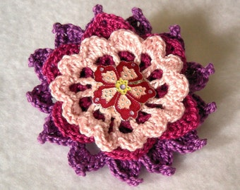 Fuchsia Flirt  Crochet Flower Brooch, Crochet Thread Pin, FB153-01