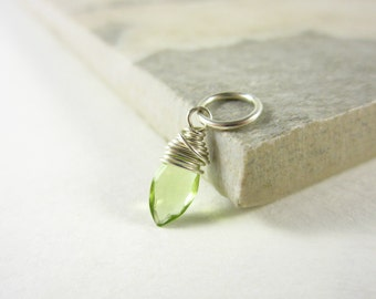 Tiny Charms - S - Sterling Silver Charms - Peridot Gemstone Jewelry - August Birthstone Jewelry - Peridot Birthstone Charm - Peridot Charms