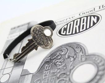 1920's Corbin Door Key + Leather Bracelet - Handmade - Repurposed - Upcycled - Hardware - Industrial - Vintage - Unisex - Brass