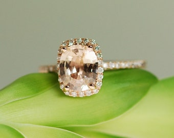 Peach Sapphire Rose Gold Engagement Ring 14k rose gold diamond ring 1.43ct Cushion ice champagne peach sapphire
