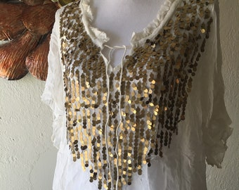 Gold Sequin Sheer White Womens Vintage Blouse