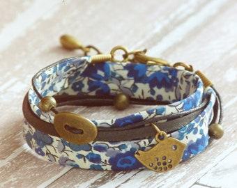 Bracelet Liberty,Bracelet enroulé,Bracelet Liberty original,Bracelet fleurs,Bijou textile,Bijoux Liberty,Bracelet manchette,Bracelet bohème