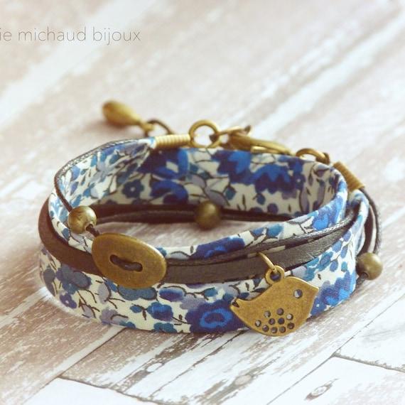 Liberty bracelet,Wrap bracelet,Double wrap bracelet,Cuff bracelet,Liberty jewelry,Blue bracelet,Boho bracelet,Cadeau pour elle,