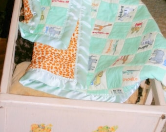 Minky baby quilt, 32x36 inch crib sized blanket,  Little Giraffe with satin edge