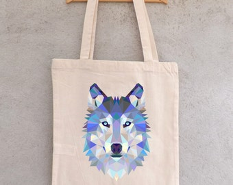 "Tote Bag ""Loup blue polygon"" - shopping bag"