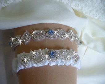 Something Blue, Diamond Wedding Garter and Toss Garter, Rhinestone Garter Set, Crystal Keepsake Garter, Sapphire Bridal Garter Set, Weddings