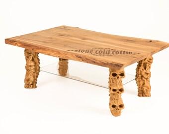 Knotty oak coffee table skull