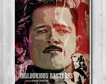 20% OFF Special 18 x 24 inches Inglourious Basterds minimalist poster, Brad Pitt, Tarantino Movie poster, WW2, Tarantino inspired prints,