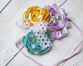When the Dawn - orchid teal and mustard rosette and chiffon with lace headband
